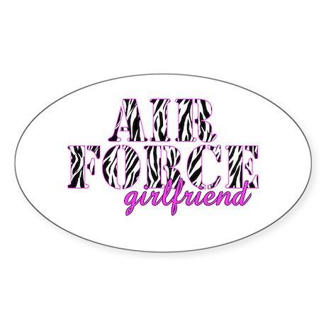 Air Force Girlfriend Zebra Sticker (Oval)