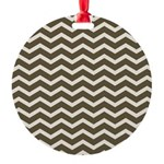 Brown Cocoa Chevron Round Ornament