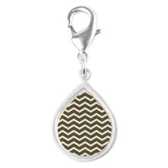 Brown Cocoa Chevron Silver Teardrop Charm