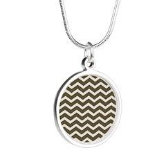 Brown Cocoa Chevron Silver Round Necklace