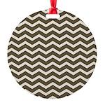 Brown Cocoa Chevron Round Ornament