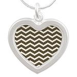 Brown Cocoa Chevron Silver Heart Necklace