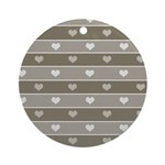 Brown Cocoa Heart Stripes Ornament (Round)