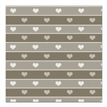 Brown Cocoa Heart Stripes Square Car Magnet 3