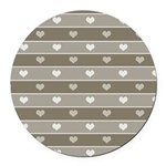 Brown Cocoa Heart Stripes Round Car Magnet