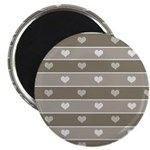 Brown Cocoa Heart Stripes Magnet