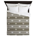 Brown Cocoa Heart Stripes Queen Duvet