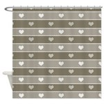 Brown Cocoa Heart Stripes Shower Curtain