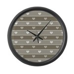 Brown Cocoa Heart Stripes Large Wall Clock