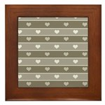 Brown Cocoa Heart Stripes Framed Tile