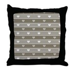 Brown Cocoa Heart Stripes Throw Pillow