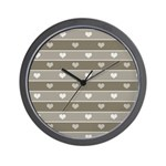 Brown Cocoa Heart Stripes Wall Clock