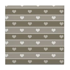 Brown Cocoa Heart Stripes Tile Coaster