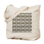 Brown Cocoa Heart Stripes Tote Bag