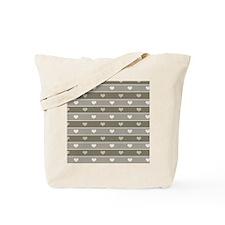 Brown Cocoa Heart Stripes Tote Bag