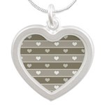 Brown Cocoa Heart Stripes Silver Heart Necklace
