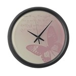 Creamy Pink Butterfly Large Wall Clock
