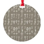 Brown Cocoa Vintage Keys Round Ornament