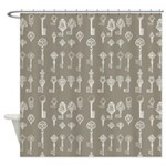 Brown Cocoa Vintage Keys Shower Curtain
