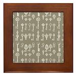 Brown Cocoa Vintage Keys Framed Tile