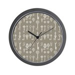 Brown Cocoa Vintage Keys Wall Clock