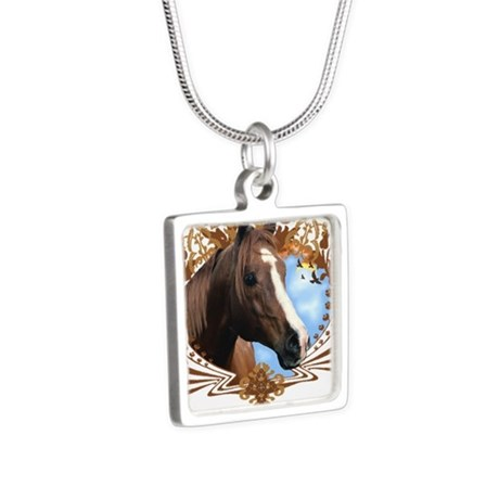 I'd Rather Be Riding, Horse Silver Square Necklace