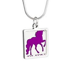 Believe Unicorn Silver Square Necklace