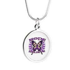 Hope Believe Alzheimers Silver Round Necklace