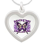Hope Believe Alzheimers Silver Heart Necklace