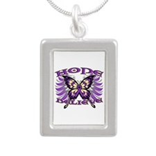 Hope Believe Alzheimers Silver Portrait Necklace