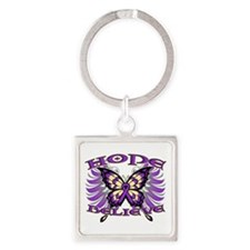 Hope Believe Alzheimers Square Keychain