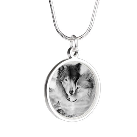 Wolfmates are forever Silver Round Necklace