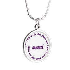 Namaste Meaning in Sacred Pu Silver Round Necklace