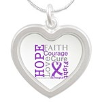 Hope Courage Alzheimers Silver Heart Necklace