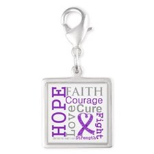 Hope Courage Alzheimers Silver Square Charm