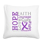Hope Courage Alzheimers Square Canvas Pillow