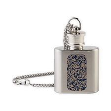 Linen & Monaco Blue Swirls Flask Necklace