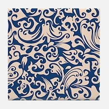 Linen & Monaco Blue Swirls Tile Coaster