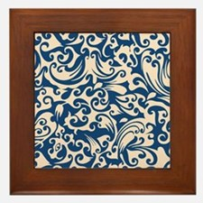 Linen & Monaco Blue Swirls Framed Tile