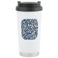 Linen & Monaco Blue Swirls Travel Mug