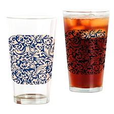 Linen & Monaco Blue Swirls Drinking Glass