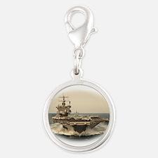 USS Enterprise Silver Round Charm