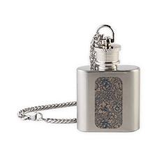 Linen & Monaco Blue Damask #3 Flask Necklace