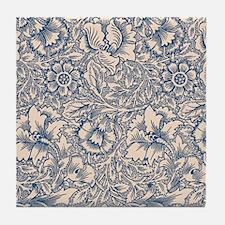 Linen & Monaco Blue Damask #3 Tile Coaster
