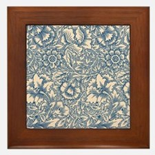 Linen & Monaco Blue Damask #3 Framed Tile
