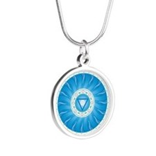 Throat Chakra Silver Round Necklace