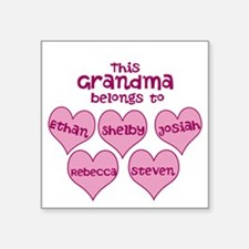 "Personalized Grand kids hearts Square Sticker 3"" x"