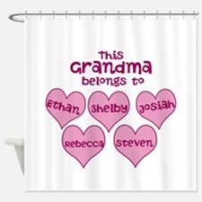 Personalized Grand kids hearts Shower Curtain