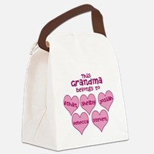 Personalized Grand kids hearts Canvas Lunch Bag