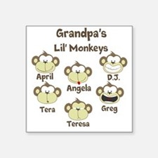 "Custom kids monkeys Square Sticker 3"" x 3"""